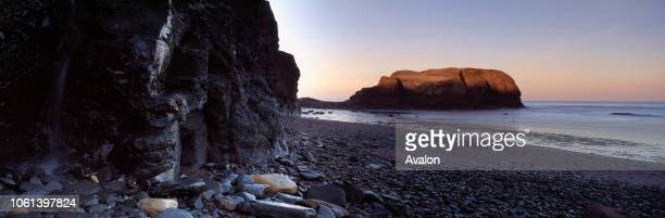 Saltwick Bay Nab with black shales in foreground source of famous Whitby Jet UK.