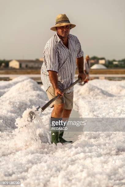 Saltworks. Men at work. Saline of Trapani. Salt. Piles of salt. Nature reserve. Stagnone of Marsala. Sicily. Italy. Europe.