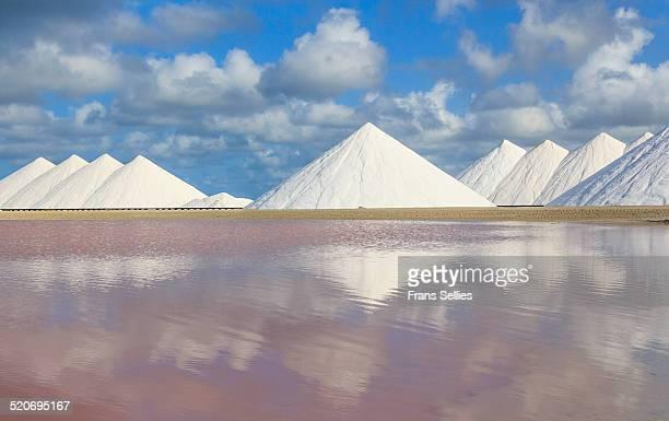 saltworks on bonaire (netherlands antilles) - great salt lake stock pictures, royalty-free photos & images