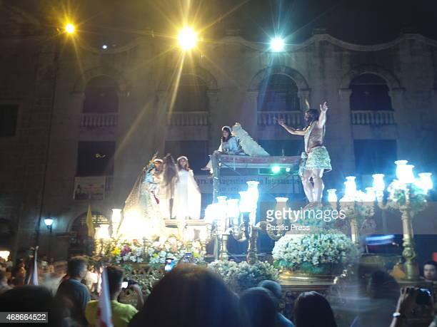 'Salubong' a traditional reenactment of risen Jesus Christs meeting with His mother Mary was held at the 450 years old San Agustin Church in...