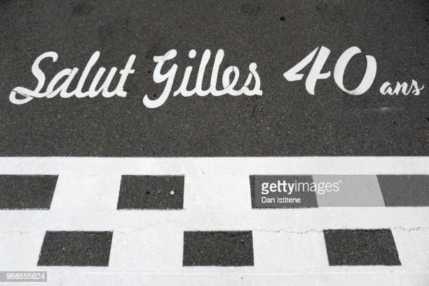 'Salut Gilles 40 ans' is displayed next to the start finish line on the track to commemorate 40 years since the opening of the circuit and its first...