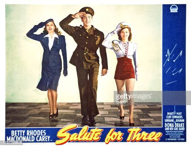Salute For Three US lobbycard from left Betty Jane Rhodes Macdonald Carey Dona Drake 1943
