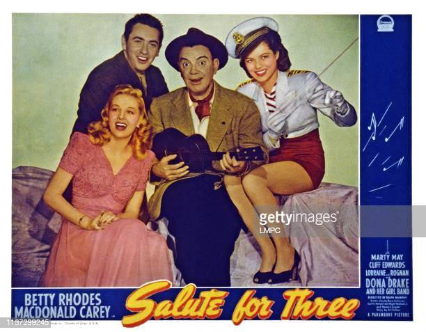 Salute For Three US lobbycard from left Macdonald Carey Betty Jane Rhodes Cliff Edwards Dona Drake 1943