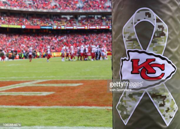 Salute to Service and Chiefs logo on the goal post in the second half of a week 10 NFL game between the Arizona Cardinals and Kansas City Chiefs on...