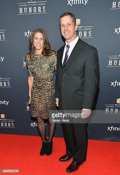 Salute to Service award recipient Baltimore Ravens head coach John Harbaugh and guest attend the 3rd Annual NFL Honors at Radio City Music Hall on...