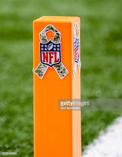 Salute to the Services camp logo on the endzon pylon during the NFL game between the New Orleans Saints and the Denver Broncos on November 13 2016 at...