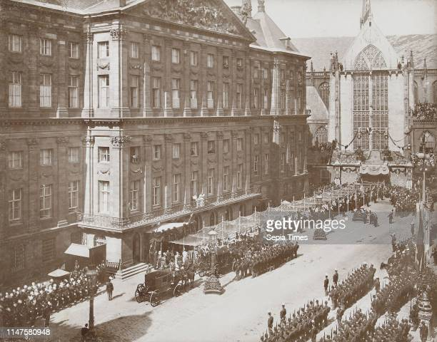 Salute Wilhelmina by soldiers and civilians after her coronation as Queen at the Royal Palace on Dam Square, Amsterdam, The Netherlands, Samuel Herz,...