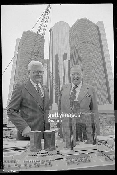 Saluting the start of construction on Phase II of Renaissance Center Alton G Marshall President of Rockefeller Center Inc and Henry Ford II Chairman...