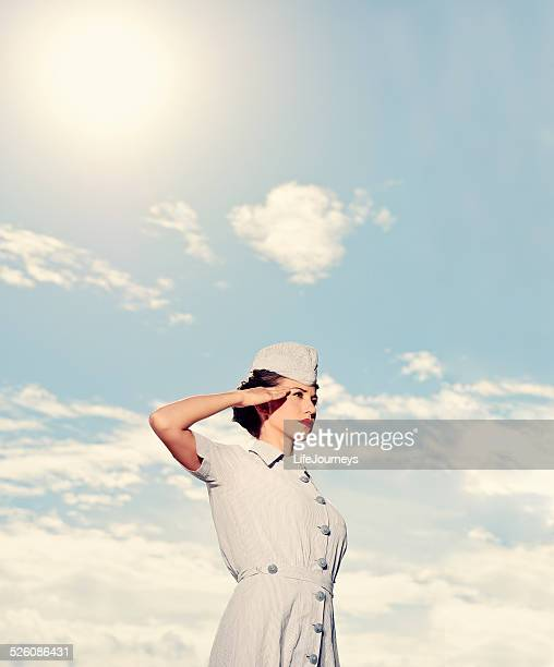 saluting wwii nurse - in uniform - saluting stock pictures, royalty-free photos & images