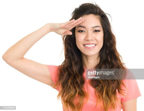 Saluting Young Woman