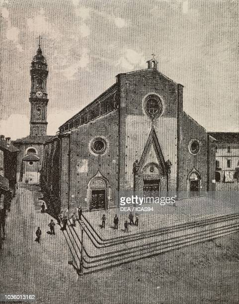 Saluzzo cathedral Italy drawing by Fiocchi and Colantuoni engraving from L'Illustrazione Italiana No 9 February 28 1886