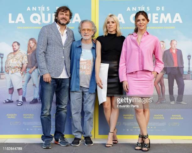 Salva Reina Fernando Colomo Maggie Civantos and Manuela Velasco attend the 'Antes de la quema' photocall at Princesa cinema on May 30 2019 in Madrid...