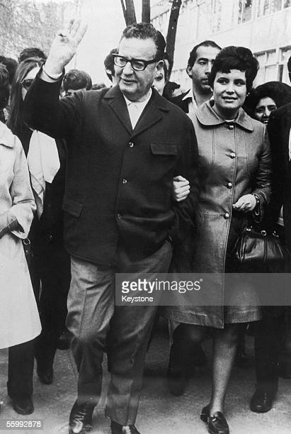 Salvador Allende the new president of Chile strolls through the streets of Santiago with his daughter on the day of the election 4th September 1970