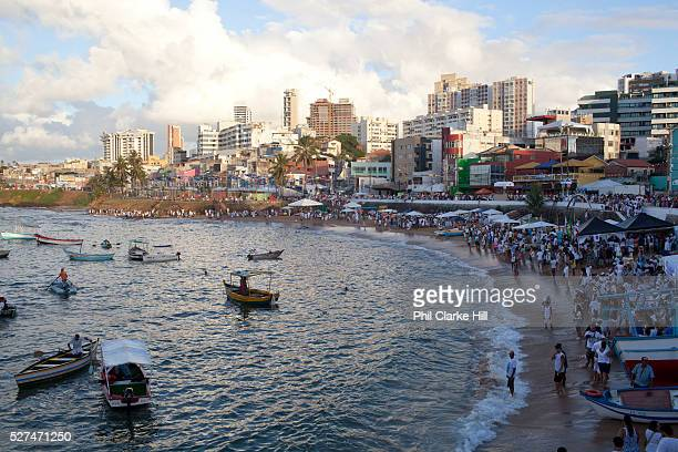 Salvador Bahia Brazil February 2nd is the feast of Yemnaja a Candomble Umbanda religious celebration where thousands of adherants to these faith...