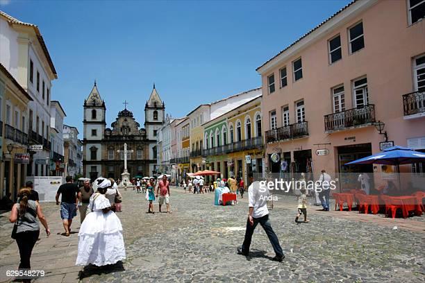 Salvador Bahia historic center frequently called the Pelourinho São Francisco Church and Convent and busy square