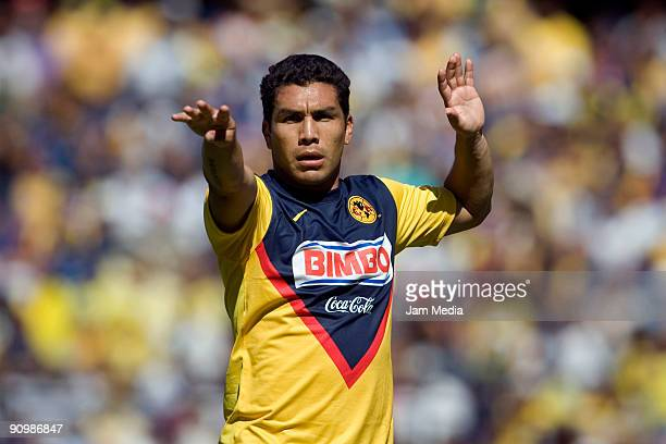 Salvador Cabanas of Aguilas del America celebrates a scored goal against Queretaro during their match for the Mexican League Apertura 2009 at the La...