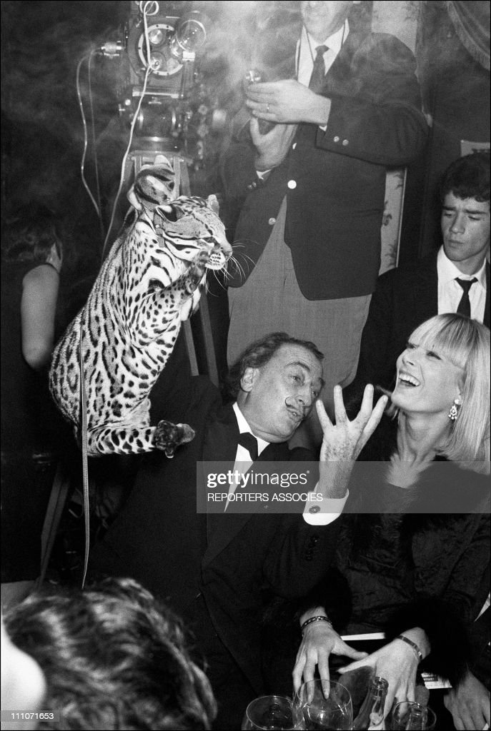 Salvador Dali and Amanda Lear On The Elysees Palace in France on November 10, 1965.