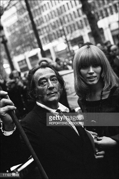 Salvador Dali and Amanda Lear On The Elysees Palace in Paris France on April 28 1969
