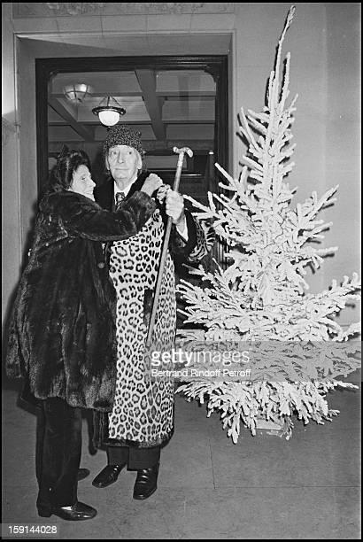 Salvador Dali and his wife Gala leave restaurant Ledoyen in Paris