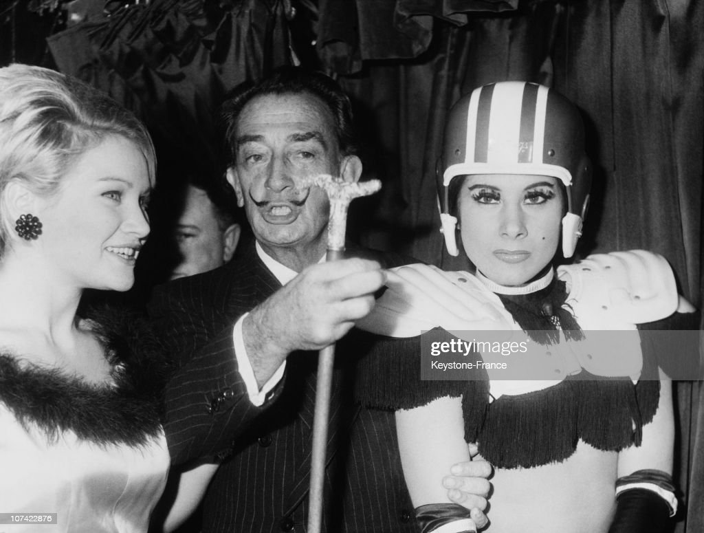 Salvador Dali At The Inauguration Of A Crazy Horse Show In Paris On December 9Th 1964