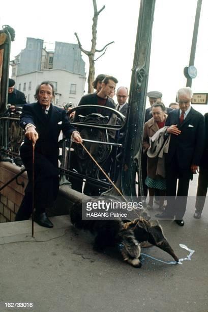 From Barcelona To Paris Paris Juillet 1969 Féru de 'happenings' Salvador DALI est descendu dans le métro avec un tamanoir animal symbole du...