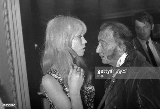 Salvador Dali painter and Spanish engraver and Amanda Lear Paris years 1960 HA 101246