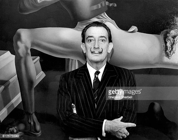 Salvador Dali seen at the opening of an exhibition of his work in New York