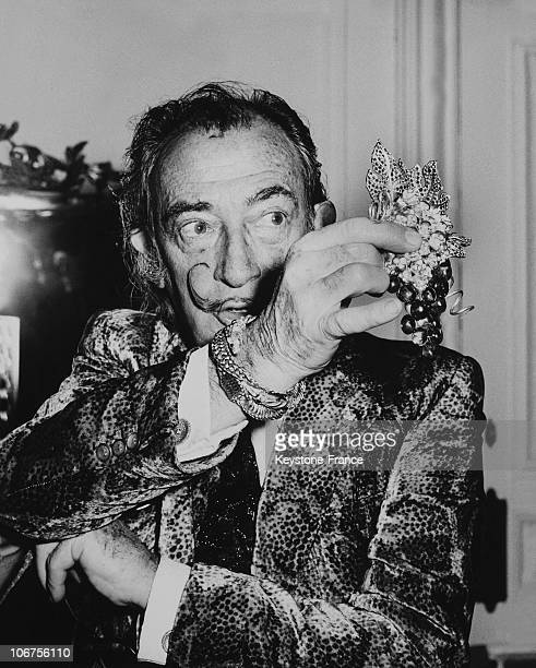 Salvador Dali Showing His Latest Jewel Grapes Of Immortality 1970'S