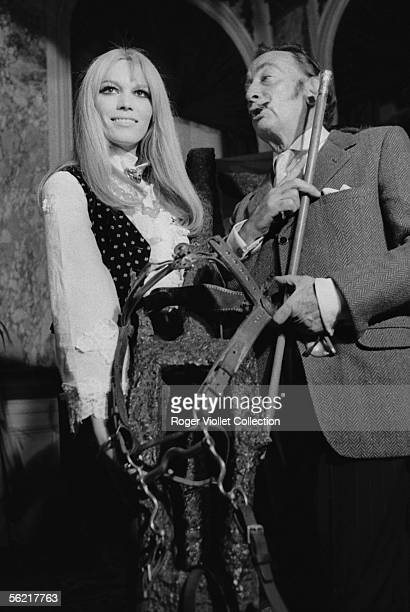 Salvador Dali Spanish painter anf engraver and Amanda Lear his muse France about 1966
