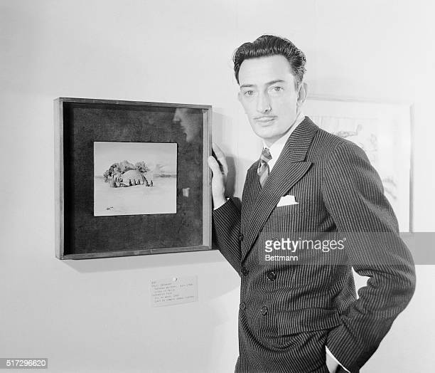 Salvador Dali Spanish Surrealist is shown here with his 'Paranoiac Face' which is on exhibition of fantastic art dada and surrealism being held at...