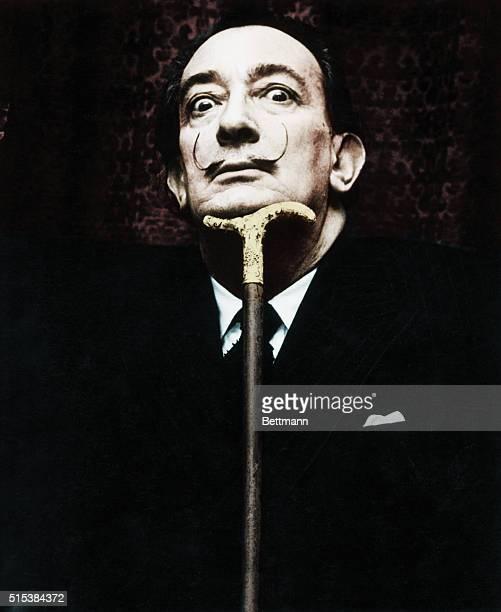 Salvador Dali , Spanish surrealist painter. Photograph, ca. 1950s-1960s.