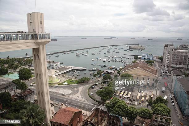 Salvador lower town with elevator lacerda, Salvador, Bahia, Brazil