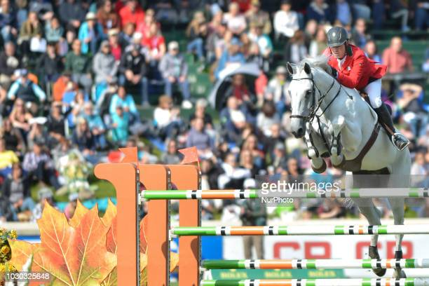 Salvador Onate of Mexico riding Big Red during the CP 'International' Grand Prix presented by Rolex, an individual jumping equestrian event on the...