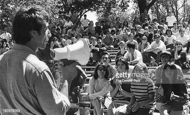 SEP 6 1969 Salvador Peralta of United Mexican American students at University of Colorado Reports Crowd of 250 hear UMAS president tell about his...