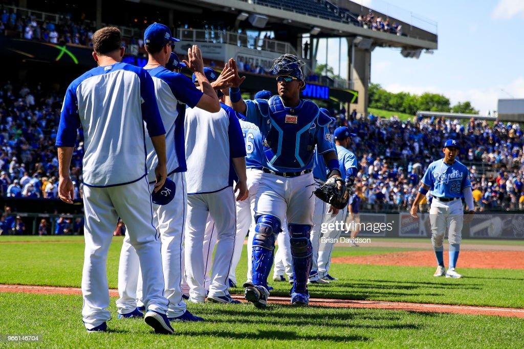Salvador Perez and The Kansas City Royals celebrate their win against the Oakland Athletics at Kauffman Stadium on June 2, 2018 in Kansas City, Missouri.