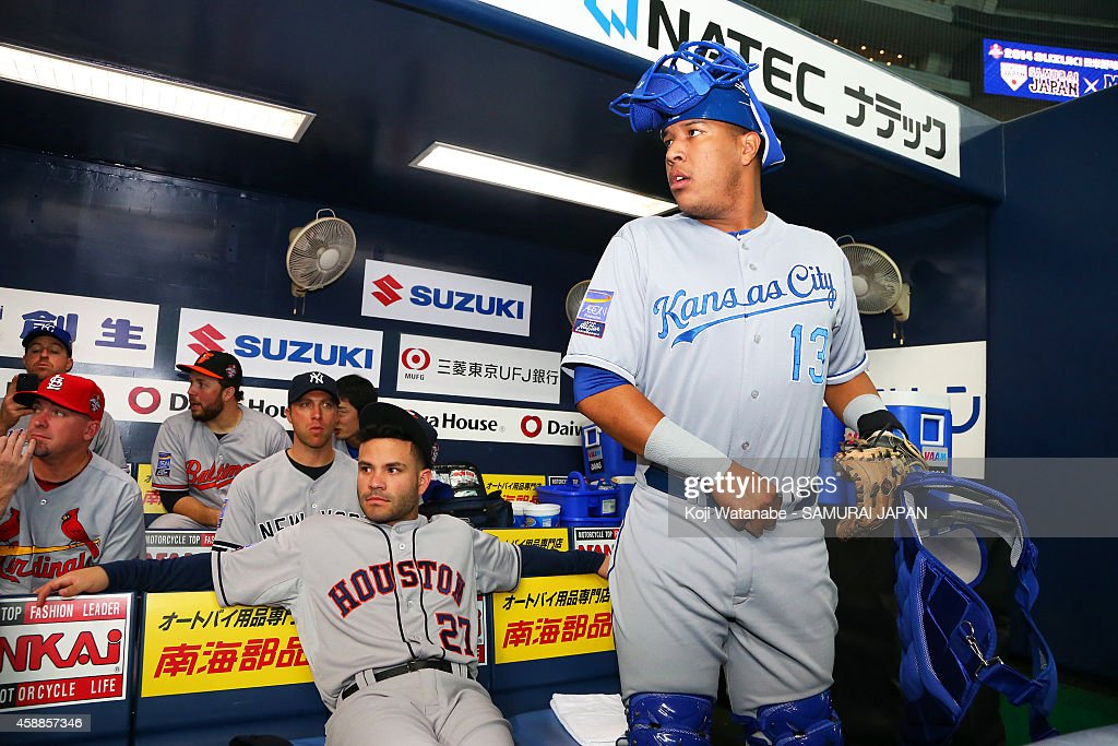 Salvador Perez in action during the game one of Samurai Japan and MLB All Stars at Kyocera Dome Osaka on November 12, 2014 in Osaka, Japan.
