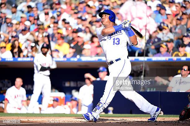 Salvador Perez of the Kansas City Royals and the American League hits a 2-run home run in the 2nd inning of the 87th Annual MLB All-Star Game at...