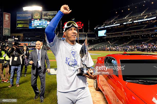 Salvador Perez of the Kansas City Royals celebrates after being named World Series MVP following a 72 victory in Game 5 of the 2015 World Series...