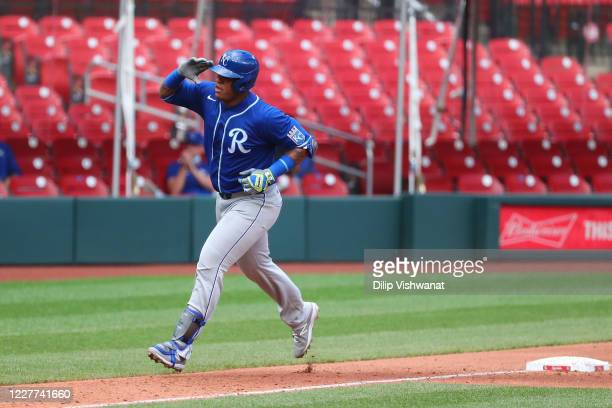 Salvador Perez of the Kansas City Royals celebrates after hitting a home run against the St. Louis Cardinals in the third inning at Busch Stadium on...