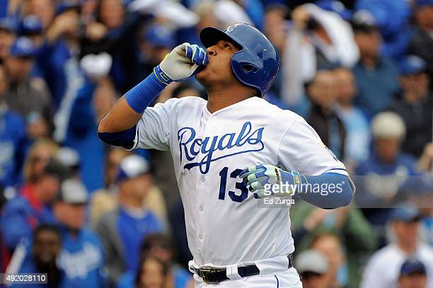 Salvador Perez of the Kansas City Royals celebrates after hitting a solo home run in the second inning against Scott Kazmir of the Houston Astros...