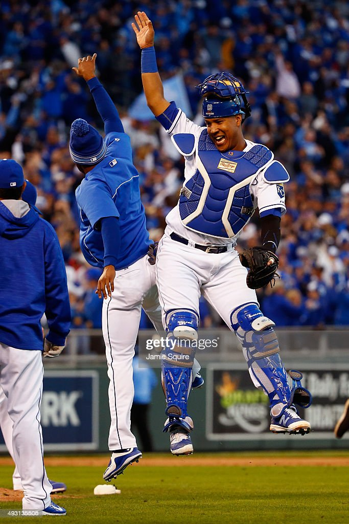 Salvador Perez #13 of the Kansas City Royals celebrates defeating the Toronto Blue Jays 6-3 in game two of the American League Championship Series at Kauffman Stadium on October 17, 2015 in Kansas City, Missouri.