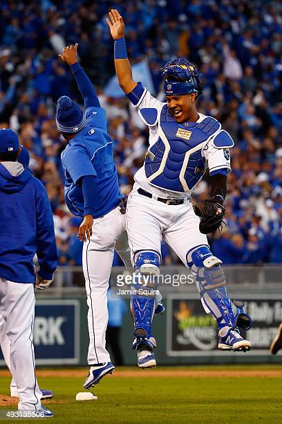 Salvador Perez of the Kansas City Royals celebrates defeating the Toronto Blue Jays 6-3 in game two of the American League Championship Series at...