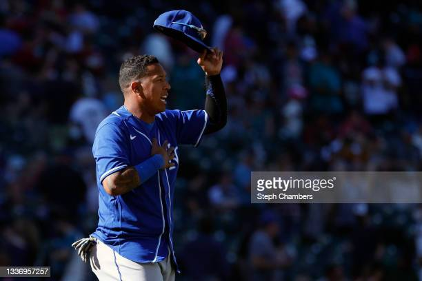 Salvador Perez of the Kansas City Royals celebrates his team's 4-2 win against the Seattle Mariners at T-Mobile Park on August 28, 2021 in Seattle,...
