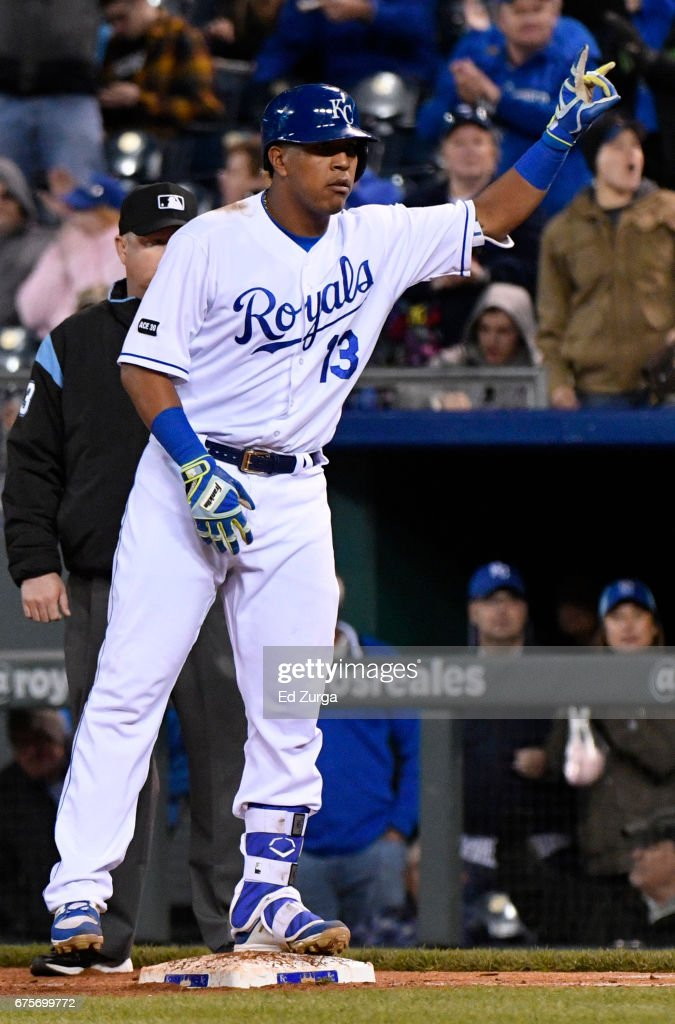 Salvador Perez #13 of the Kansas City Royals celebrates his two-run single in the fifth inning against the Chicago White Sox at Kauffman Stadium on May 1, 2017 in Kansas City, Missouri.