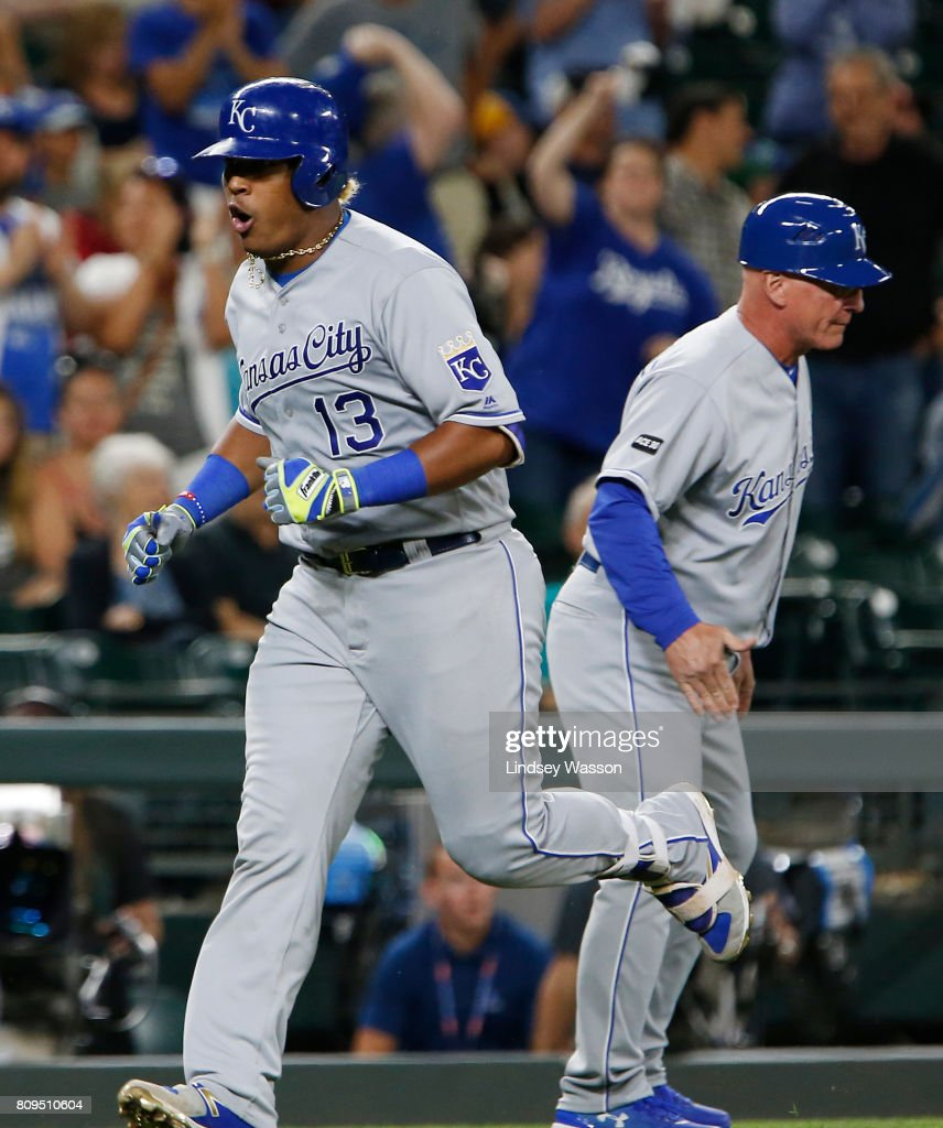 Salvador Perez #13 of the Kansas City Royals cheers as he heads home after hitting a two run home run off of James Pazos #47 of the Seattle Mariners in the tenth inning at Safeco Field on July 5, 2017 in Seattle, Washington.