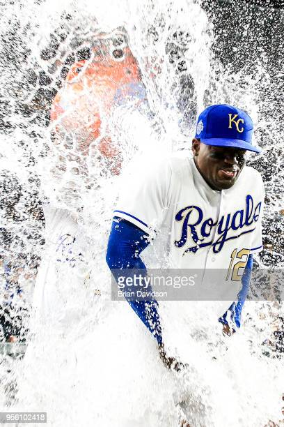 Salvador Perez of the Kansas City Royals dumps sports drink on Jorge Soler after the royals defeated the Detroit Tigers at Kauffman Stadium on May 4,...