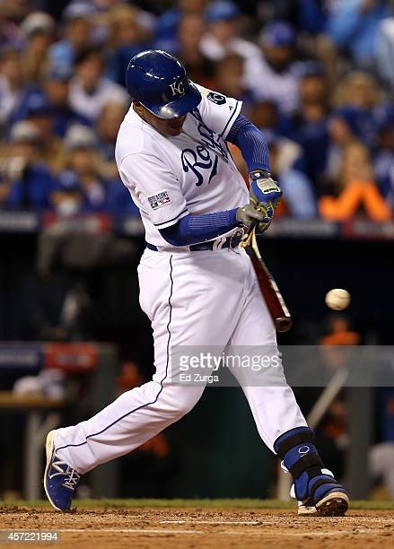 Salvador Perez of the Kansas City Royals grounds out to the shortstop in the second inning against the Baltimore Orioles during Game Three of the...