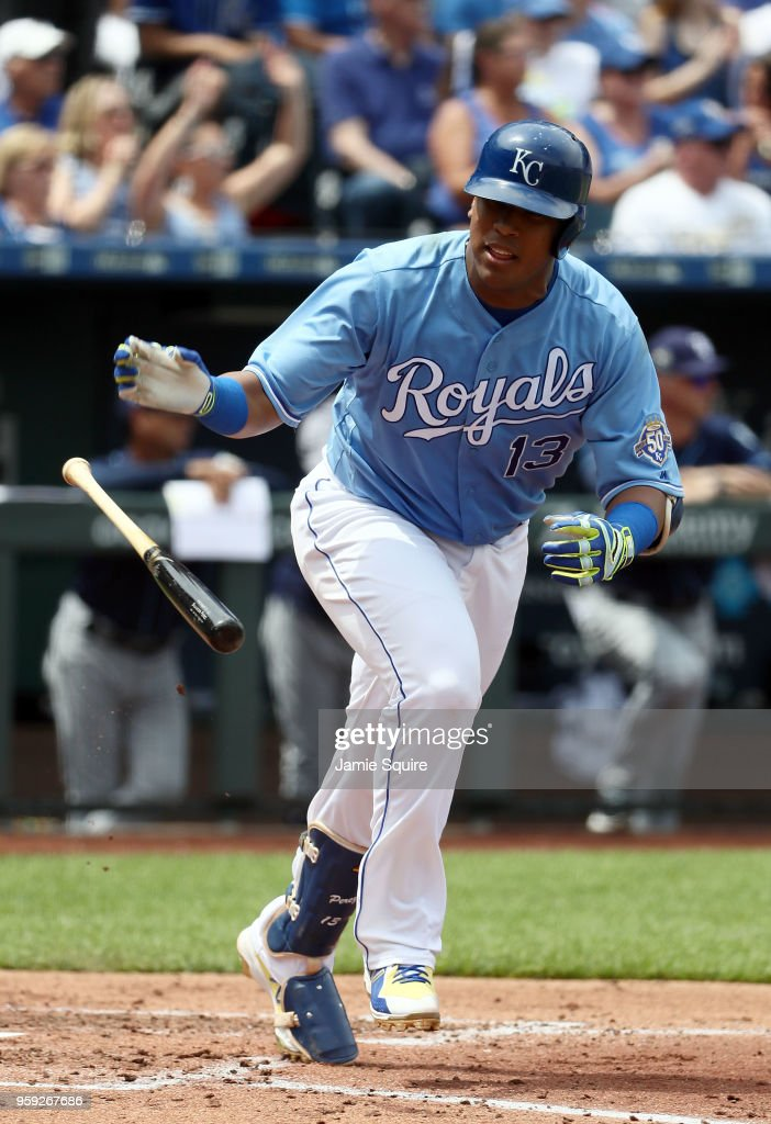 Salvador Perez #13 of the Kansas City Royals heads toward first during the game against the Tampa Bay Rays at Kauffman Stadium on May 16, 2018 in Kansas City, Missouri.