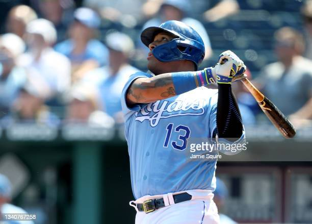 Salvador Perez of the Kansas City Royals hits a 2-run home run during the 1st inning of the game against the Oakland Athletics at Kauffman Stadium on...