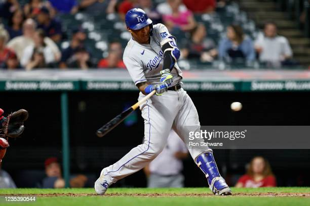Salvador Perez of the Kansas City Royals hits a double off Francisco Perez of the Cleveland Indians in the third inning during game two of a...